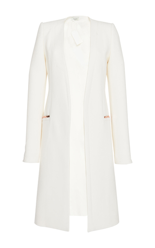 Medium mugler white tailored coating and mirrored leather trim coat