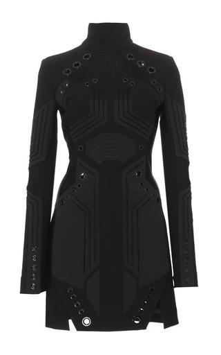 Medium mugler black tailored wool coating dress