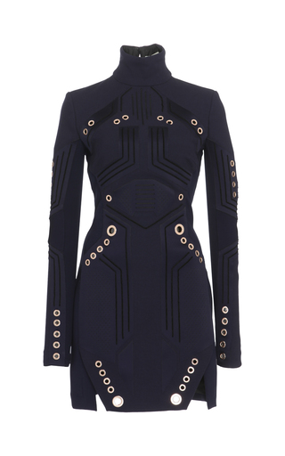 Medium mugler blue tailored wool coating long sleeve dress