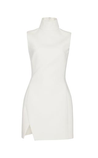 Medium mugler white tailored coating and mirrored leather dress