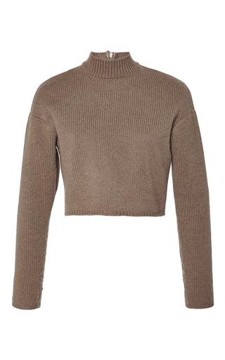 Medium giambattista valli brown cropped wool melange knit turtleneck