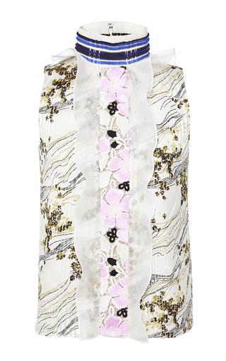 Medium giambattista valli print floral sleeveless blouse with ruffle placket