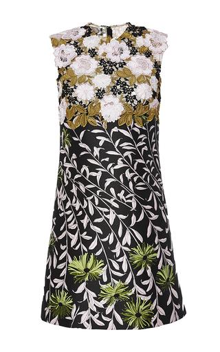 Medium giambattista valli multi black floral jacquard shift dress with macrame bodice