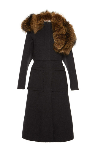 Medium marni dark grey double heavy felt coat with asymmetric fur stole