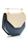 Amor Fati Shoulder Bag In Sand & Blue Calf Leather by M2MALLETIER Now Available on Moda Operandi