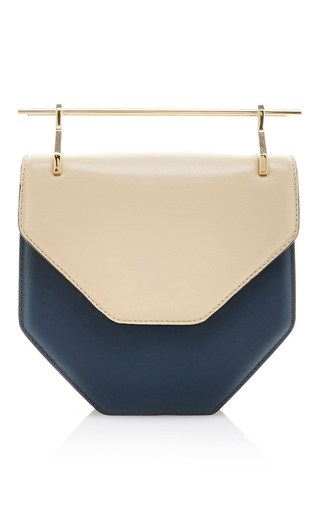 Medium m2malletier blue amor fati shoulder bag in sand blue calf leather