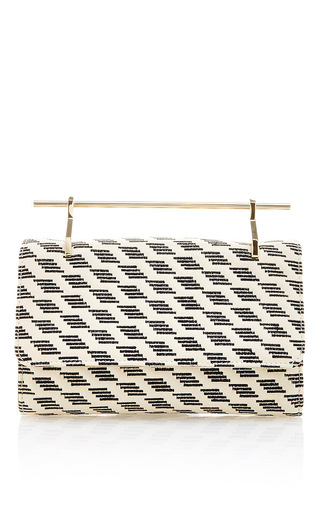 Medium m2malletier print fabricca stripes embroidery clutch