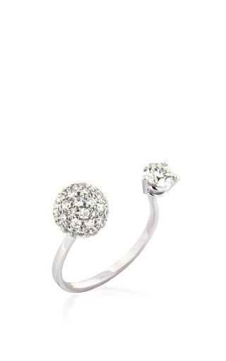 Medium delfina delettrez white diamond sphere and dot ring