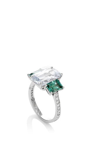 One Of A Kind Emerald Cut White Sapphire Ring by PAOLO COSTAGLI for Preorder on Moda Operandi