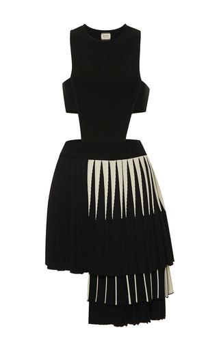 Medium fausto puglisi black pleated asymmetrical dress