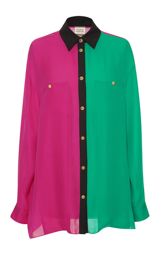 Medium fausto puglisi pink colorblocked button up shirt