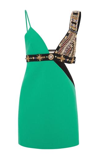 Medium fausto puglisi green wool cutout dress