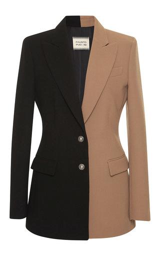 Medium fausto puglisi brown colorblocked wool blazer