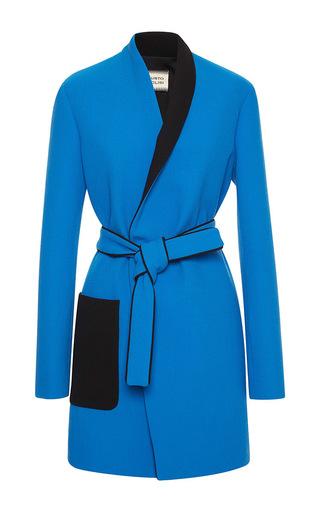 Medium fausto puglisi blue contrast collar wrap coat