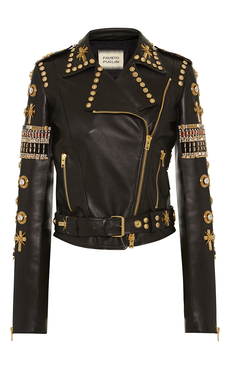 Embroidered Leather Biker Jacket By Fausto Puglisi | Moda Operandi