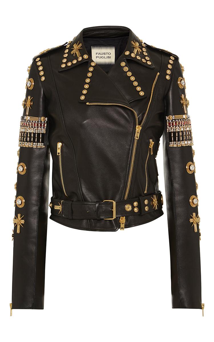 Embroidered Leather Biker Jacket By Fausto Puglisi | Moda Operandi