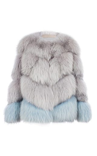 Medium milusha london dark grey arctic marble fox fur jacket