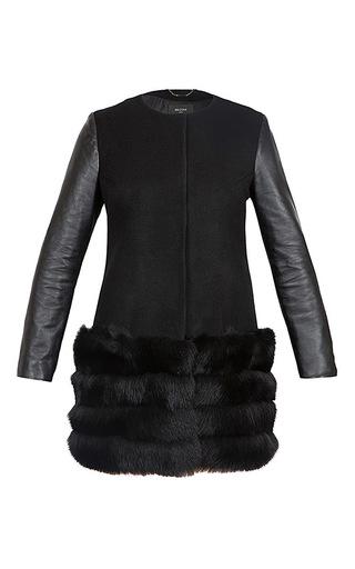Medium milusha london black verbier coat with arctic fox fur trim