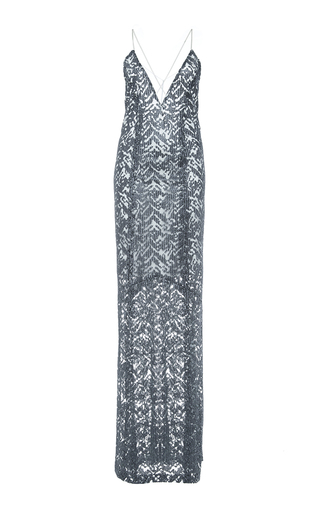 Medium galvan metallic embroidered metallic cross back dress