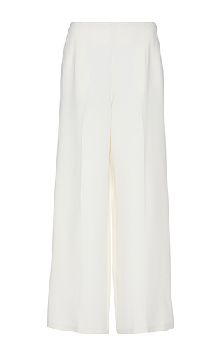 Medium maiyet white off white silk wide leg cropped pant