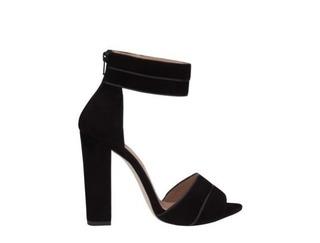 Medium elie saab black black 115mm simple sandal with stripes detail