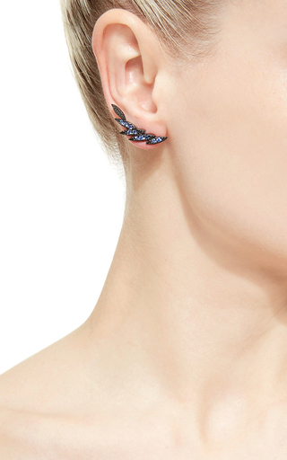Bamboo Collection Black Gold Sapphire Earrings by AS29 Now Available on Moda Operandi