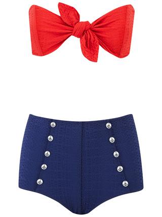 Medium lisa marie fernandez navy poppy button high waist bikini 2