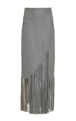 Handwoven Fringed Leather Haiiro Skirt by JOHANNA ORTIZ Now Available on Moda Operandi