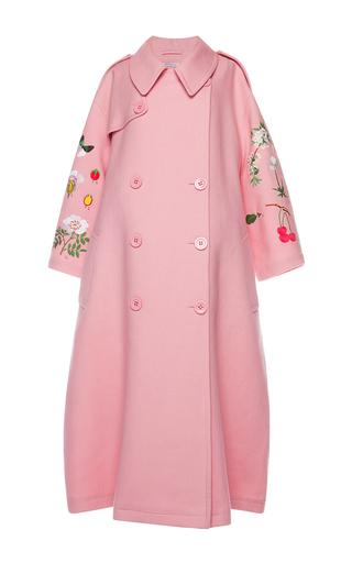 Medium vivetta pink floral applique pink cotton coat