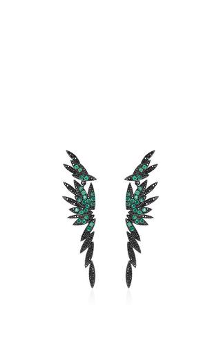 Medium as29 green bamboo long stud earrings