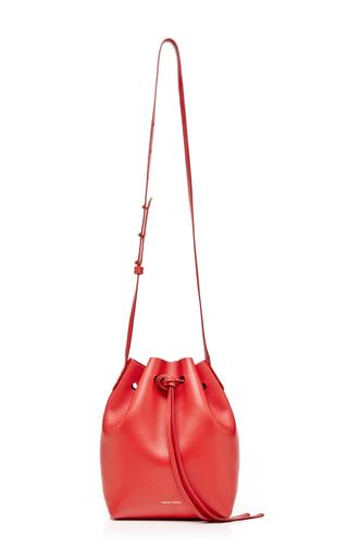 Medium mansur gavriel red calf leather mini bucket bag in flamma with flamma interior 2
