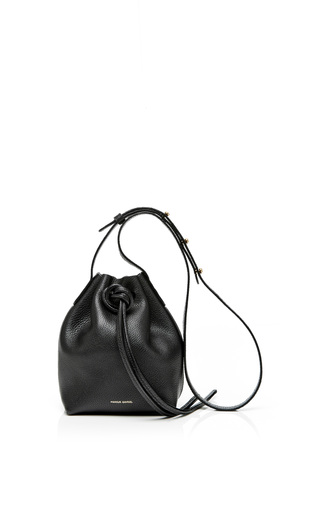 Medium mansur gavriel black tumble leather mini mini bag in black 2