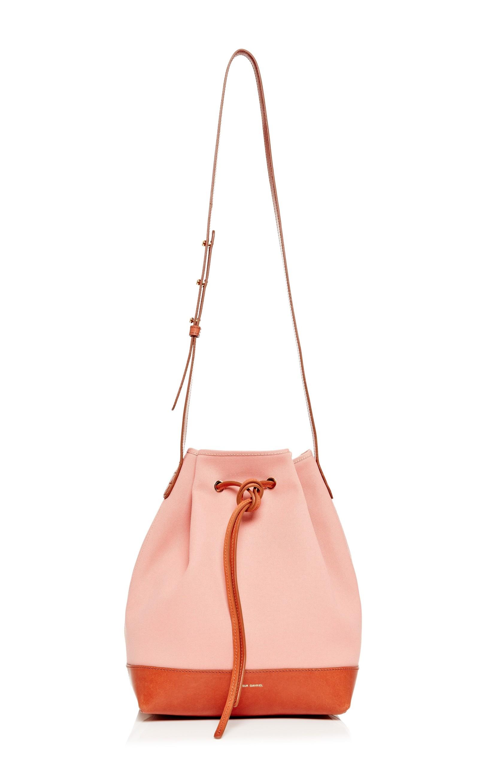 fd3ce5fef77d Canvas Bucket Bag In Blush With Moss by Mansur Gavriel
