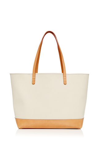 Large Canvas Tote In Creme With Creme Interior by MANSUR GAVRIEL Now Available on Moda Operandi