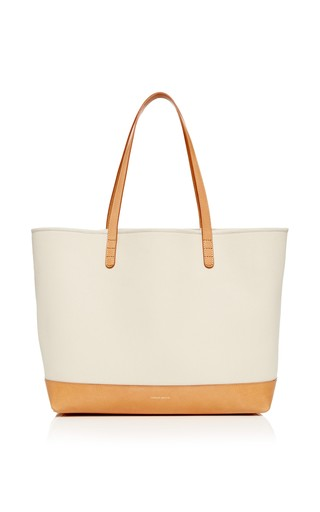 Medium mansur gavriel brown large canvas tote in creme with creme interior 2