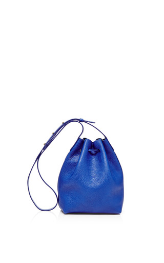 Mini Tumble Leather Bucket Bag In Royal by MANSUR GAVRIEL Now Available on Moda Operandi