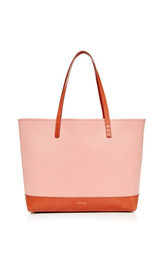 Medium mansur gavriel multi large canvas tote in blush with moss interior 2