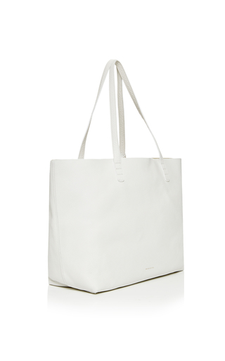 Tumble Leather Tote In White by MANSUR GAVRIEL Now Available on Moda Operandi