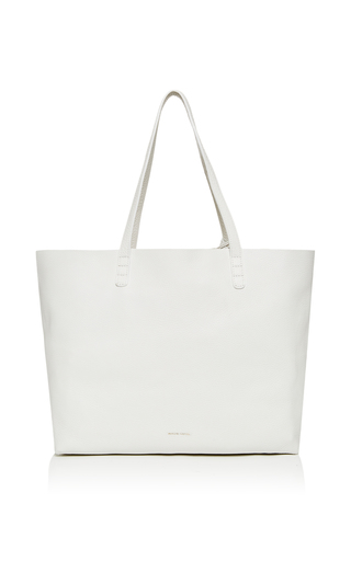 Medium mansur gavriel white tumble leather tote in white 2