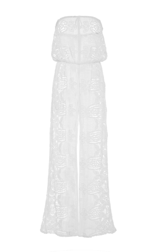 Medium miguelina white piper strapless jumpsuit