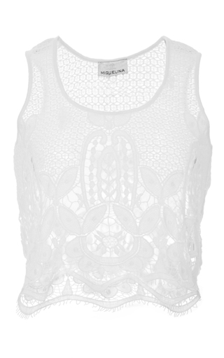 Medium miguelina white ellease scallop lace top