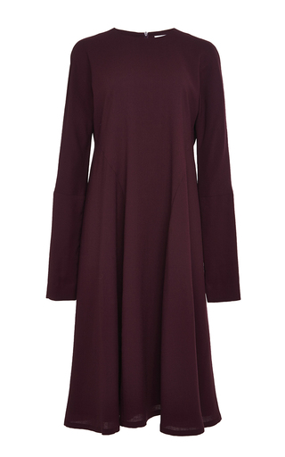 Medium perret schaad burgundy alexis wool georgette dress