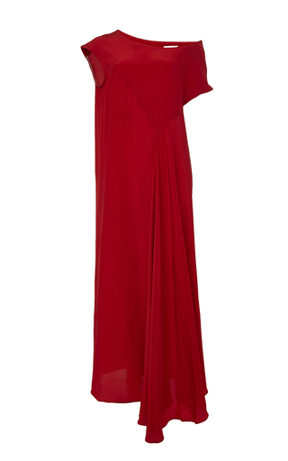 Medium perret schaad red tobi silk crepe de chine dress
