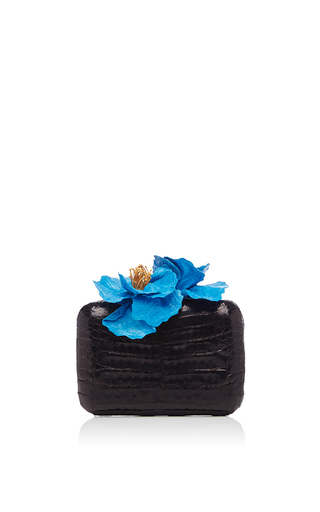 Medium nancy gonzalez black black crocodile clutch with blue flower embellishments
