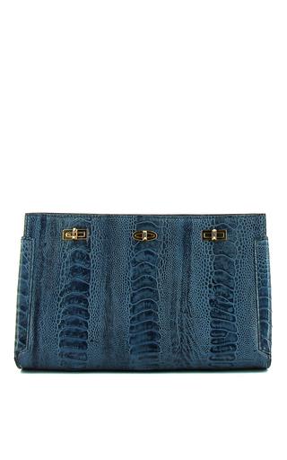 Medium vbh blue shiny blue ostrich leg id clutch