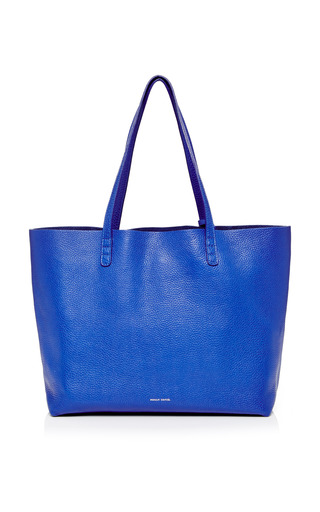 Medium mansur gavriel blue tumble leather tote in royal 2