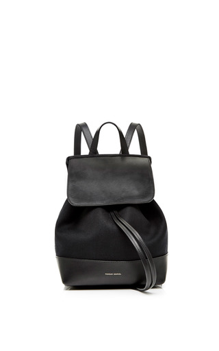 Medium mansur gavriel black canvas mini backpack in black with red interior