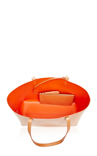 Large Coated Leather Tote In Camello With Orange Interior by MANSUR GAVRIEL Now Available on Moda Operandi