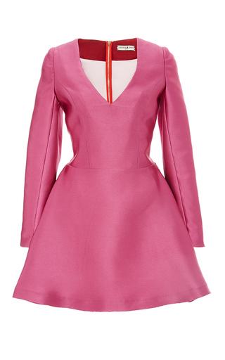 Medium natasha zinko pink v neck double satin mini dress