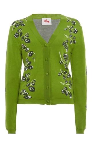 Medium orley green orley falling leaf cardigan
